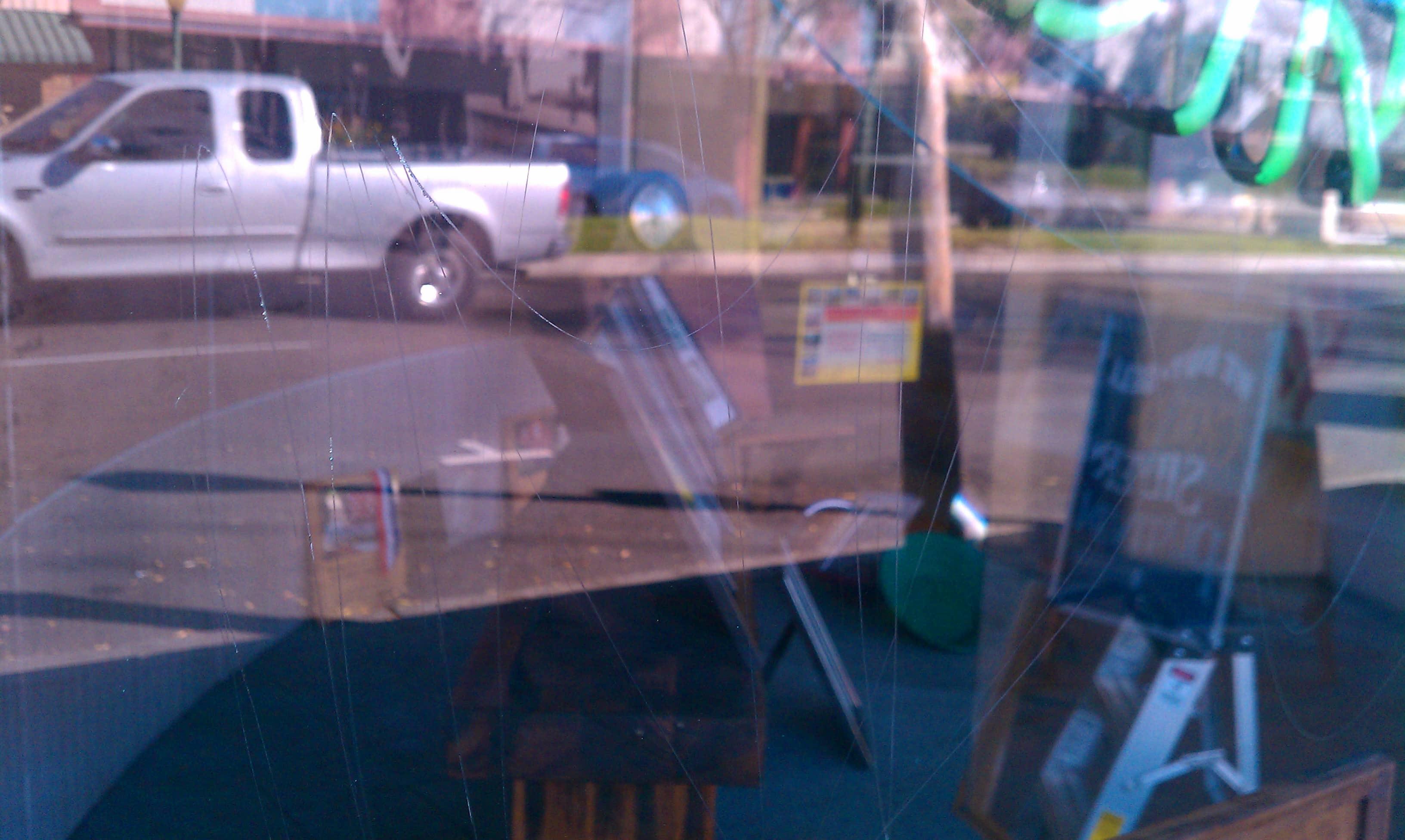 Scratched Glass Graffiti Escondio, CA
