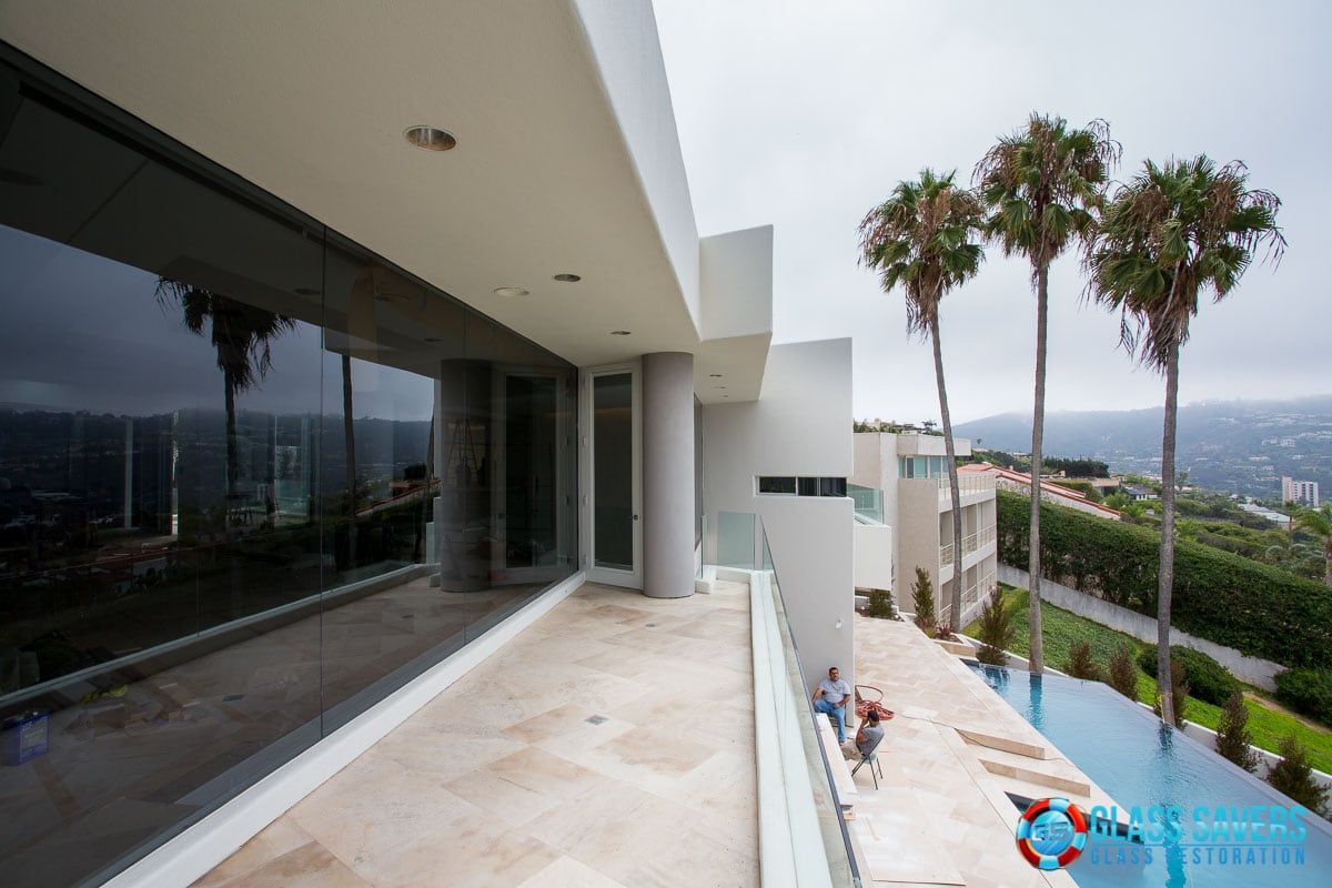 Glass Resurfacing at custom home in La Jolla